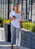Alessandra Ambrosio looks great in a white t-shirt and grey leggings while heading for a pilates class in Los Angeles