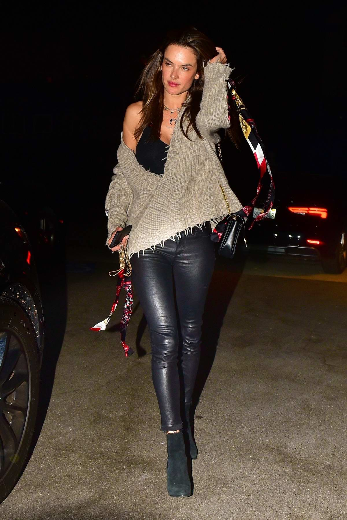 Alessandra Ambrosio looks stylish in black leather pants during a dinner date with Nicolo Oddi in Santa Monica, California