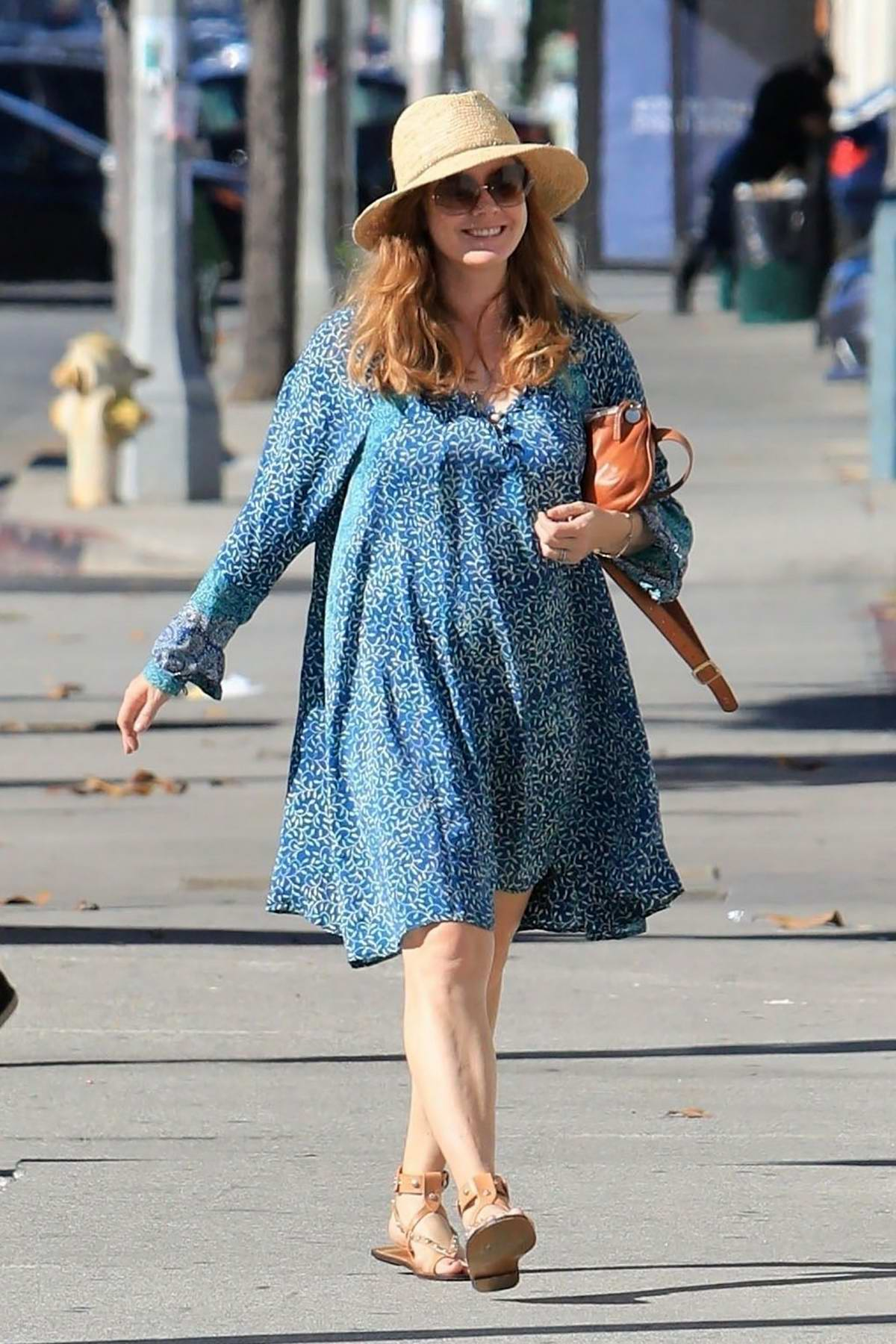Amy Adams looks beautiful in a blue dress while out for lunch with husband Darren Le Gallo in Beverly Hills, Los Angeles