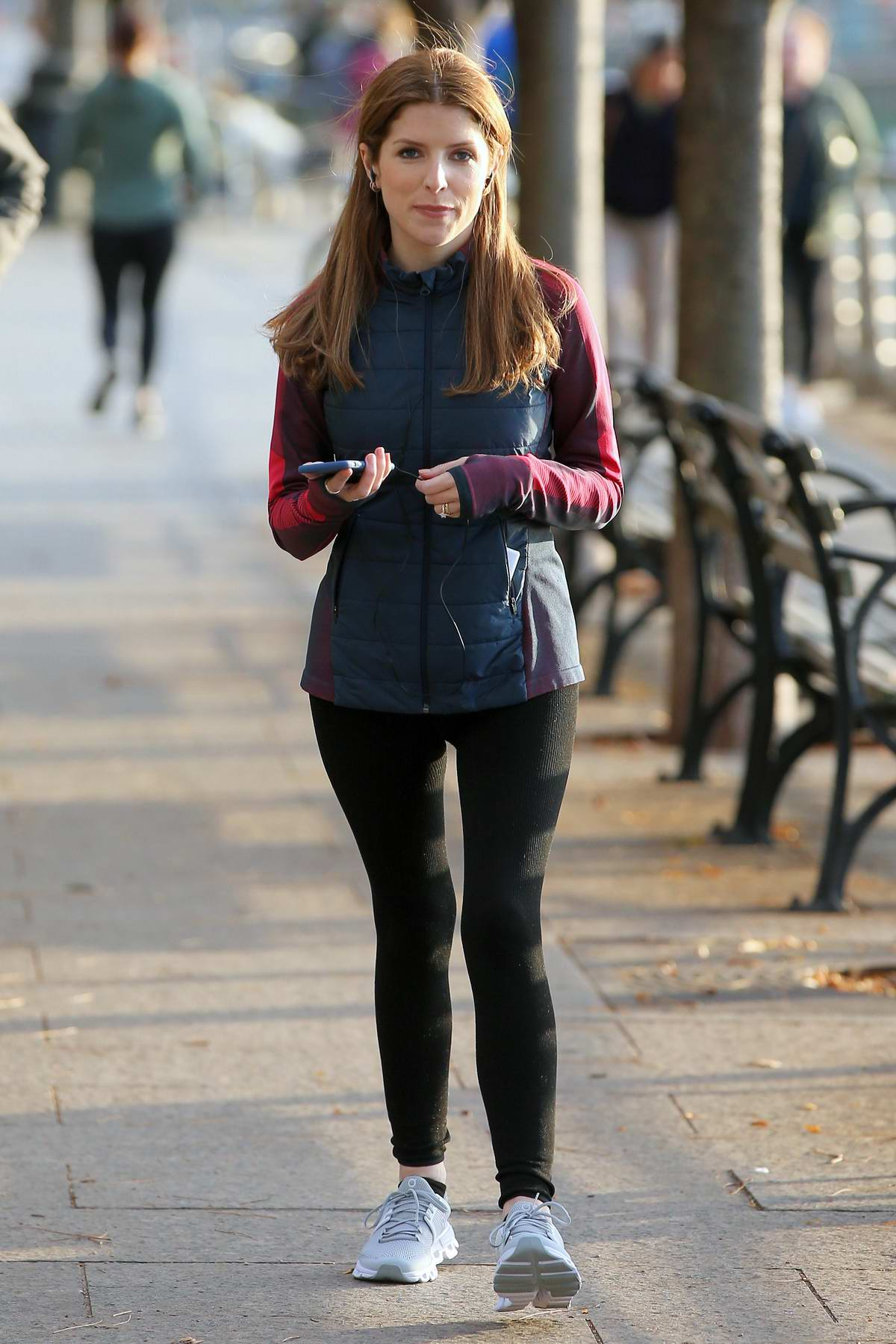 Anna Kendrick spotted on the set of 'Love Life' while filming a jogging scene along the Hudson River in New York City