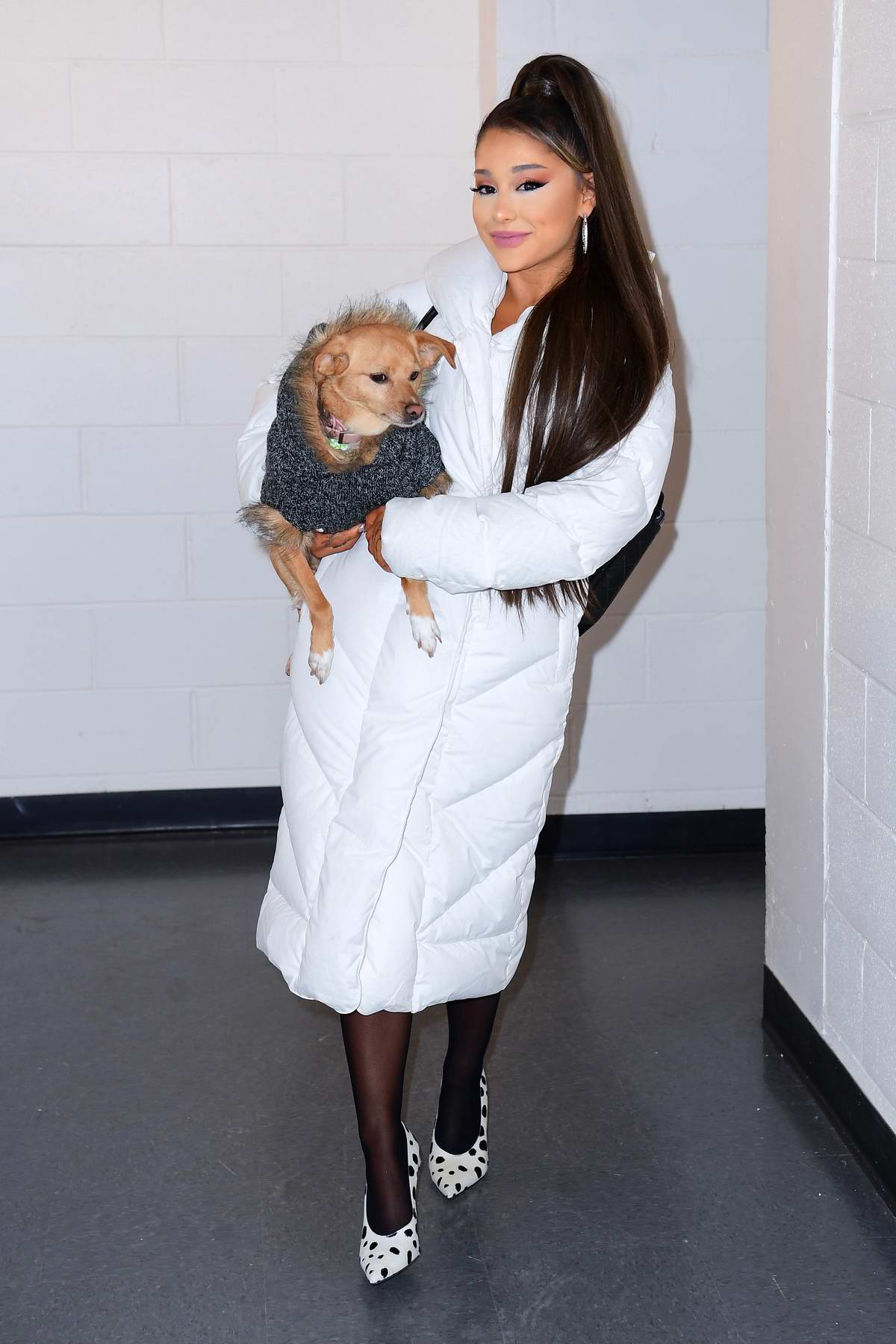 Ariana Grande seen backstage at her Sweetener World Tour Concert in Charlottesville, Virginia