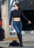 Ariel Winter bares her midriff in a black crop top and jeans during a lunch date at Joan's on Third in Studio City, Los Angeles