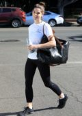 Ashley Greene wraps up her workout session and stops by to pick up some groceries at Pavilions in West Hollywood, Los Angeles