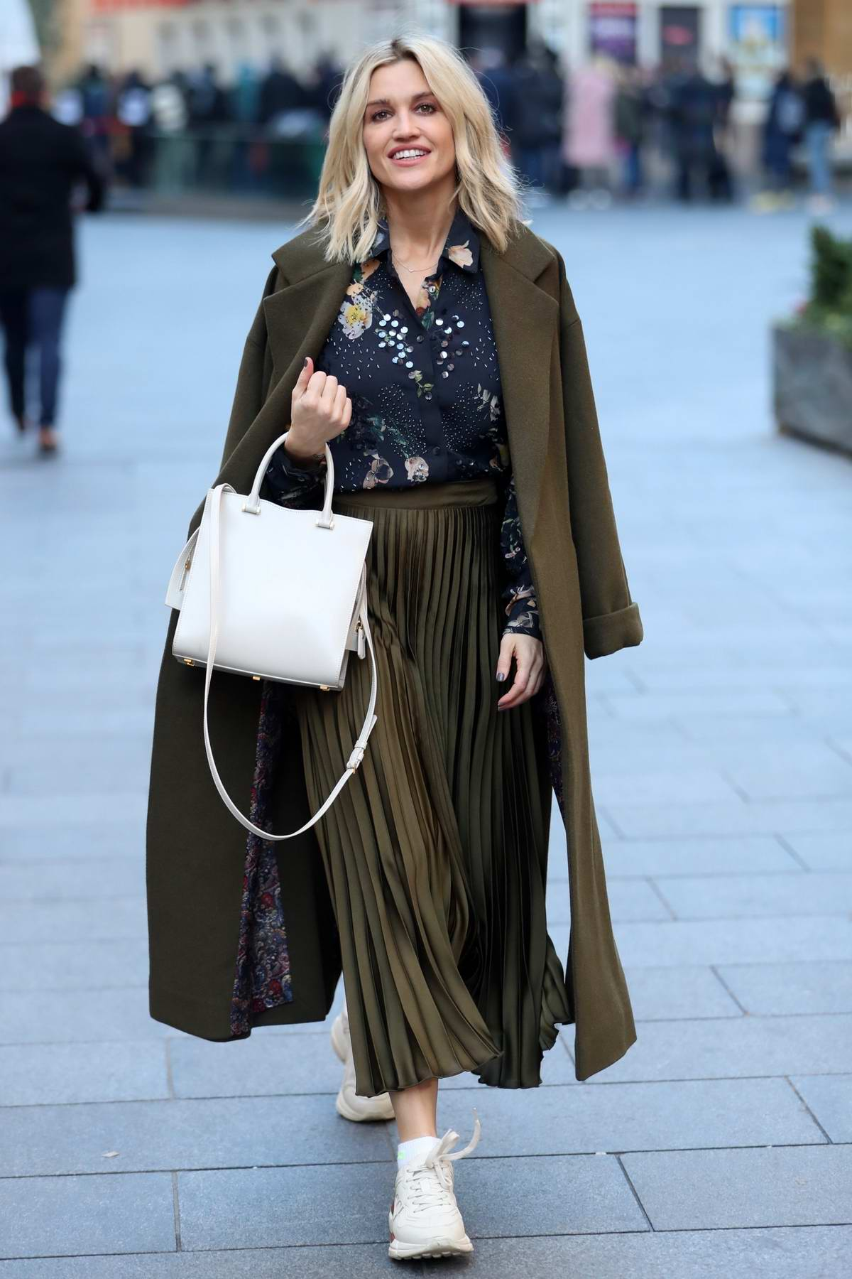 Ashley Roberts looks chic as she heads to rehearsals after her radio show on Heart FM in London, UK