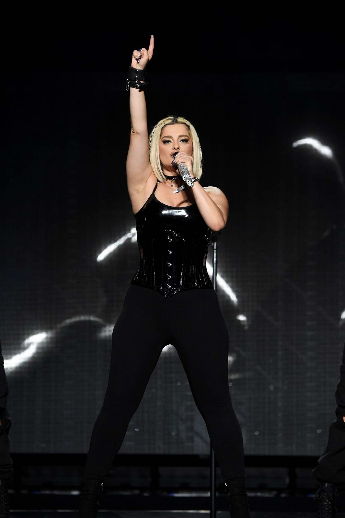 Bebe Rexha performs as an opening act during the Jonas Brothers 'Happiness Begins' Tour at Prudential Center in Newark, New Jersey