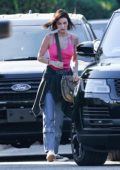 Bella and Gigi Hadid stop by Hailey Bieber's house for a visit in Beverly Hills, Los Angeles