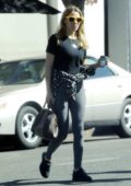 Bethany Joy Lenz sports a black top and grey leggings for breakfast at Joan's on Third in Los Angeles