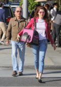 Blanca Blanco and husband John Savage step out with their bunny in Beverly Hills, Los Angeles