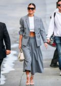 Camila Morrone looks stylish in a grey suit as she arrives 'Jimmy Kimmel Live!' in Hollywood, California
