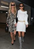 Chantel Jeffries and Paris Hilton hold hands as they leave Bootsy Bellows in West Hollywood, Los Angeles