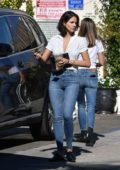 Eiza González looks cool in a white top paired with blue jeans while out with friends in Studio City, Los Angeles