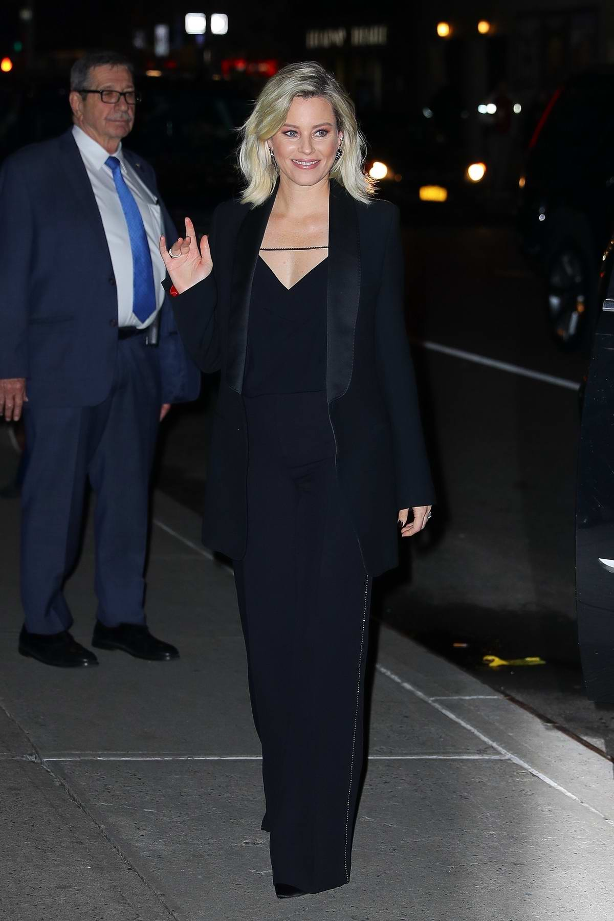 Elizabeth Banks seen wearing a black suit as she arrives at 'The Late Show With Stephen Colbert' in New York City