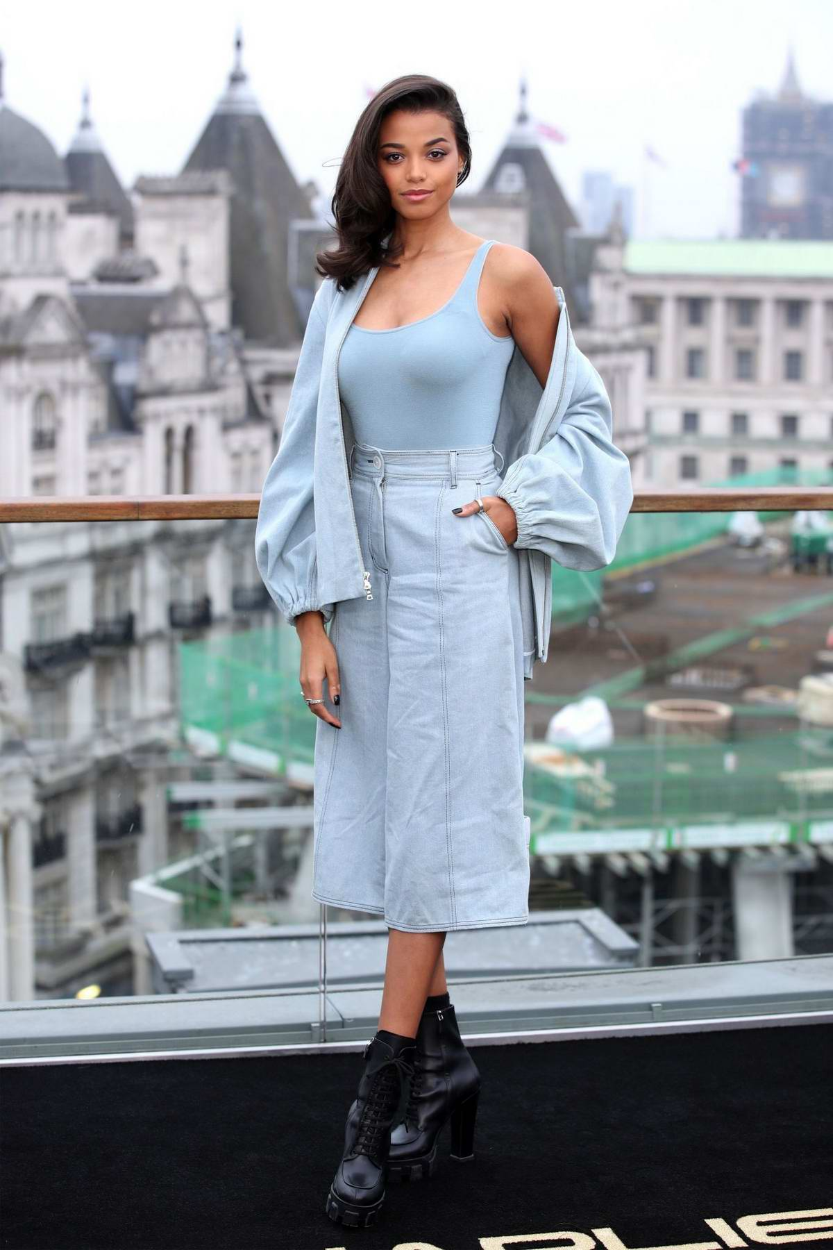 Ella Balinska attends a photocall for Charlie's Angels at The Corinthia Hotel London in London, UK