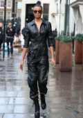 Ella Balinska looks stylish in a black leather jumpsuit as she visits KISS FM radio studios in London, UK