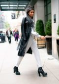Ella Balinska seen wearing Sorelle Moscow top and pants with Prada jacket and boots in Midtown, New York City