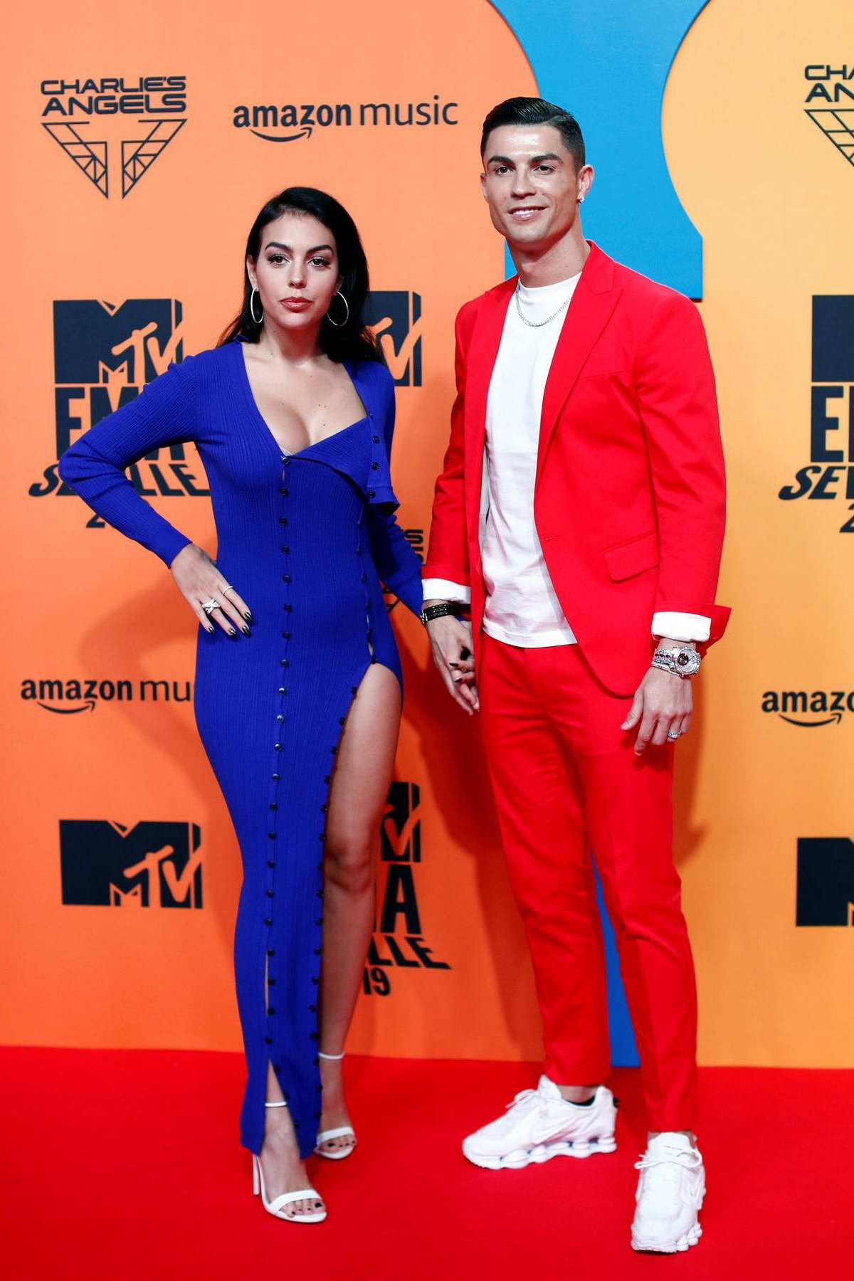 Georgina Rodriguez and Cristiano Ronaldo attend the MTV Europe Music Awards 2019 at FIBES Conference and Exhibition Centre in Seville, Spain