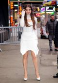 Hailee Steinfeld looks stunning in white while visiting 'Good Morning America' in New York City