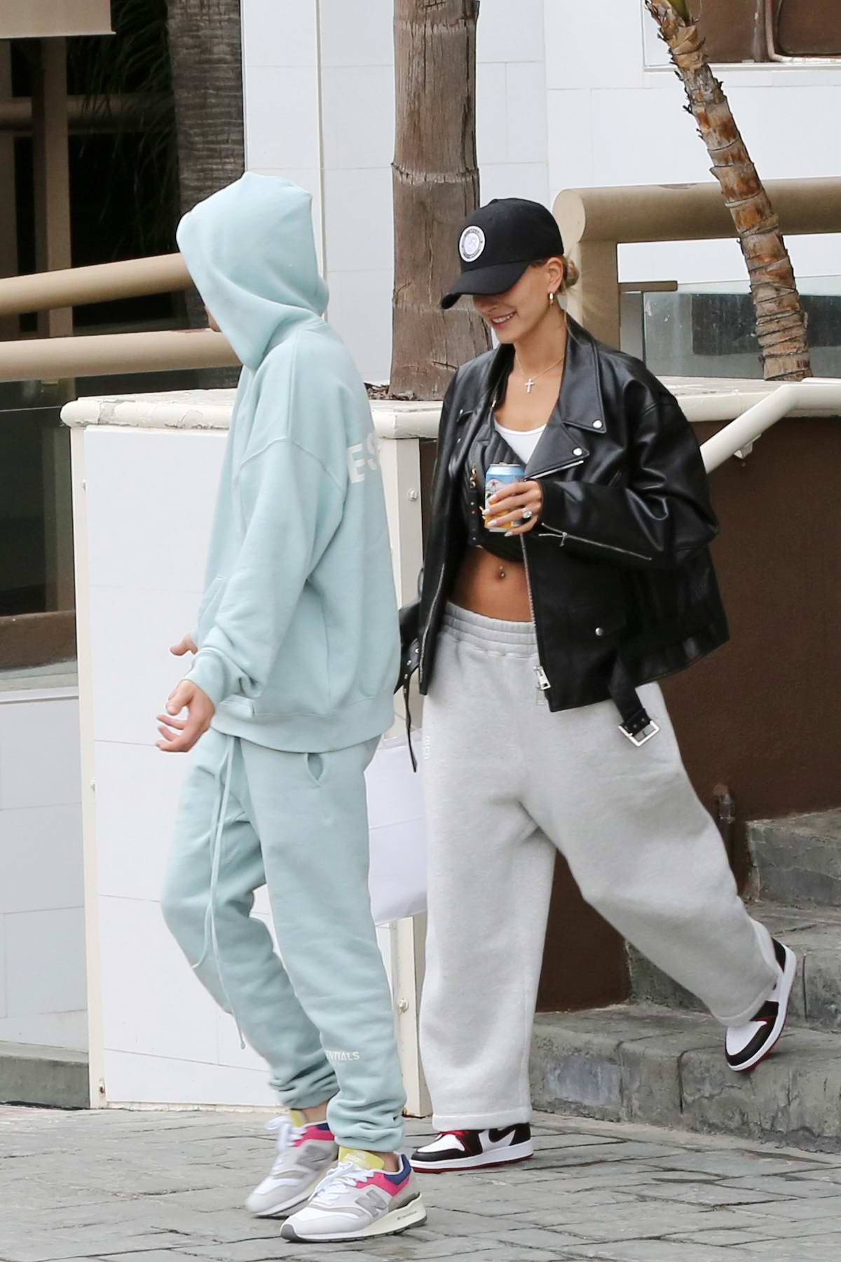 Hailey and Justin Bieber are all smiles as they pick up poke for lunch in Los Angeles