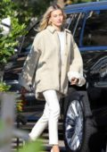 Hailey Bieber and Justin Bieber arrives for lunch on Hailey's 23rd birthday at Nobu in Malibu, California
