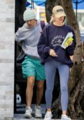 Hailey Bieber and Justin Bieber grab lunch at The Butcher in West Hollywood, Los Angeles