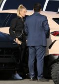 Hailey Bieber arrives at the Forum for Kanye West's Sunday Service in Los Angeles