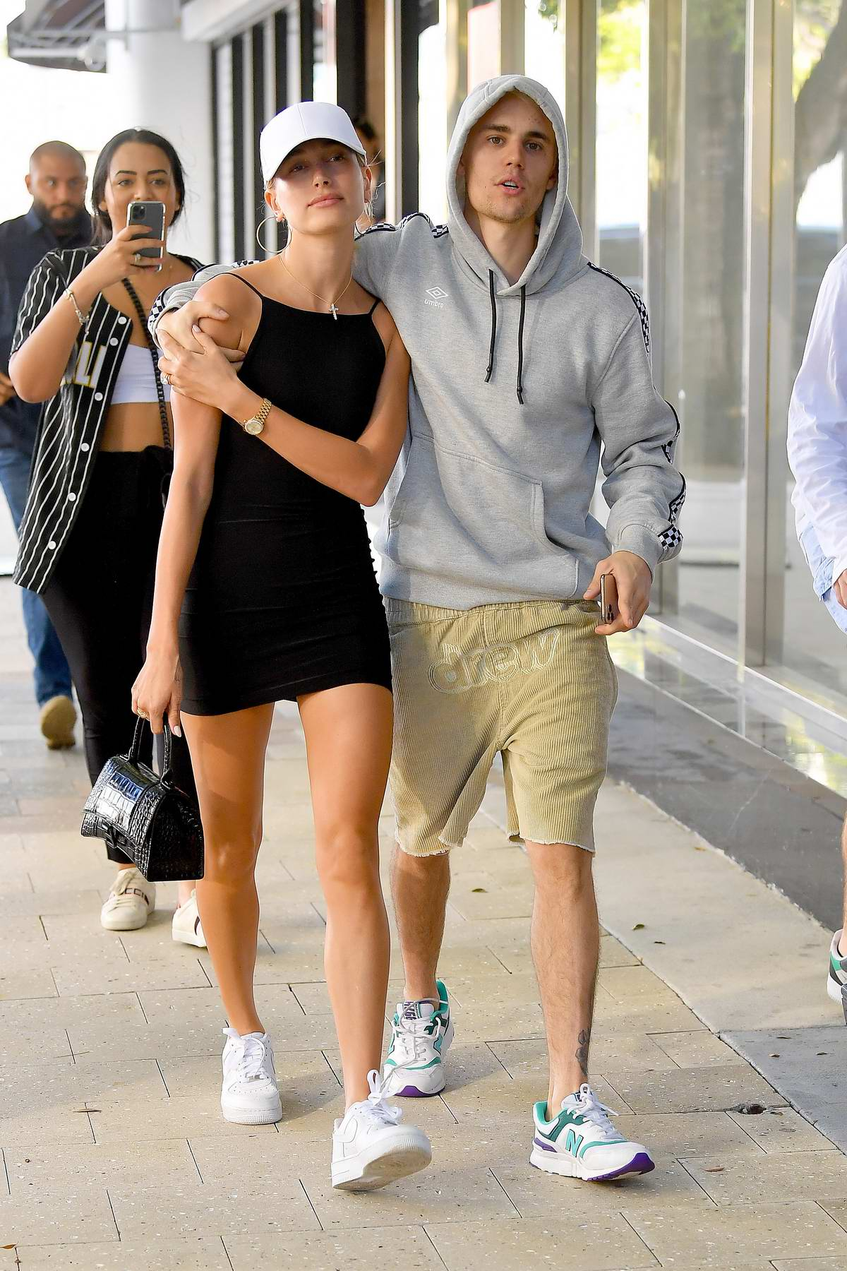 Hailey Bieber looks great in a black mini dress as she steps out for lunch with Justin Bieber in Key Biscayne, Miami, Florida