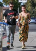 Halsey and Evan Peters share laughs after picking up Starbucks in Burbank, California