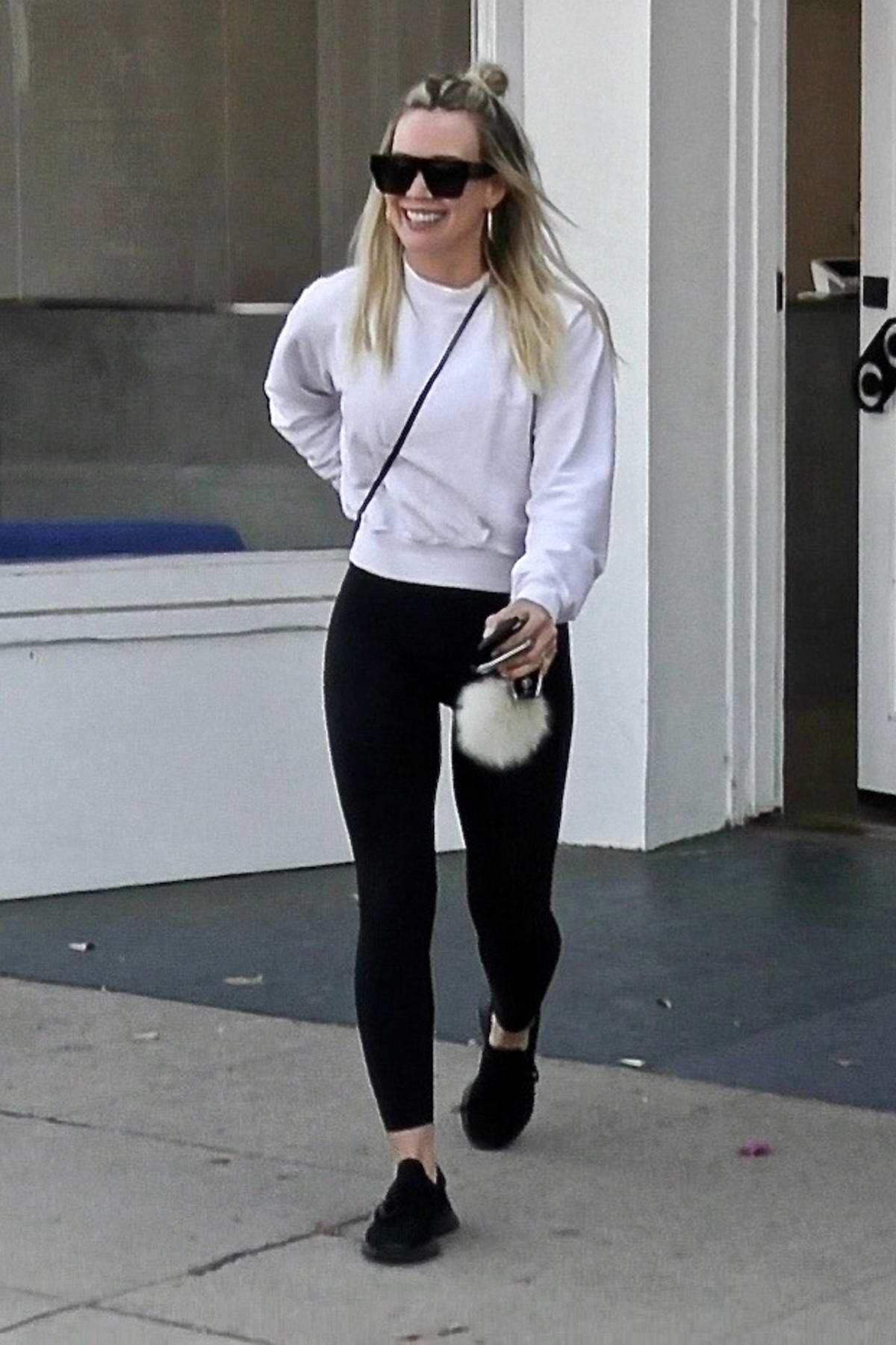 Hilary Duff is all smiles as she exits a nail salon in Studio City, California
