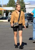 Hilary Duff rocks a yellow hoodie and black bike shorts as she goes grocery shopping at Ralph's in Los Angeles