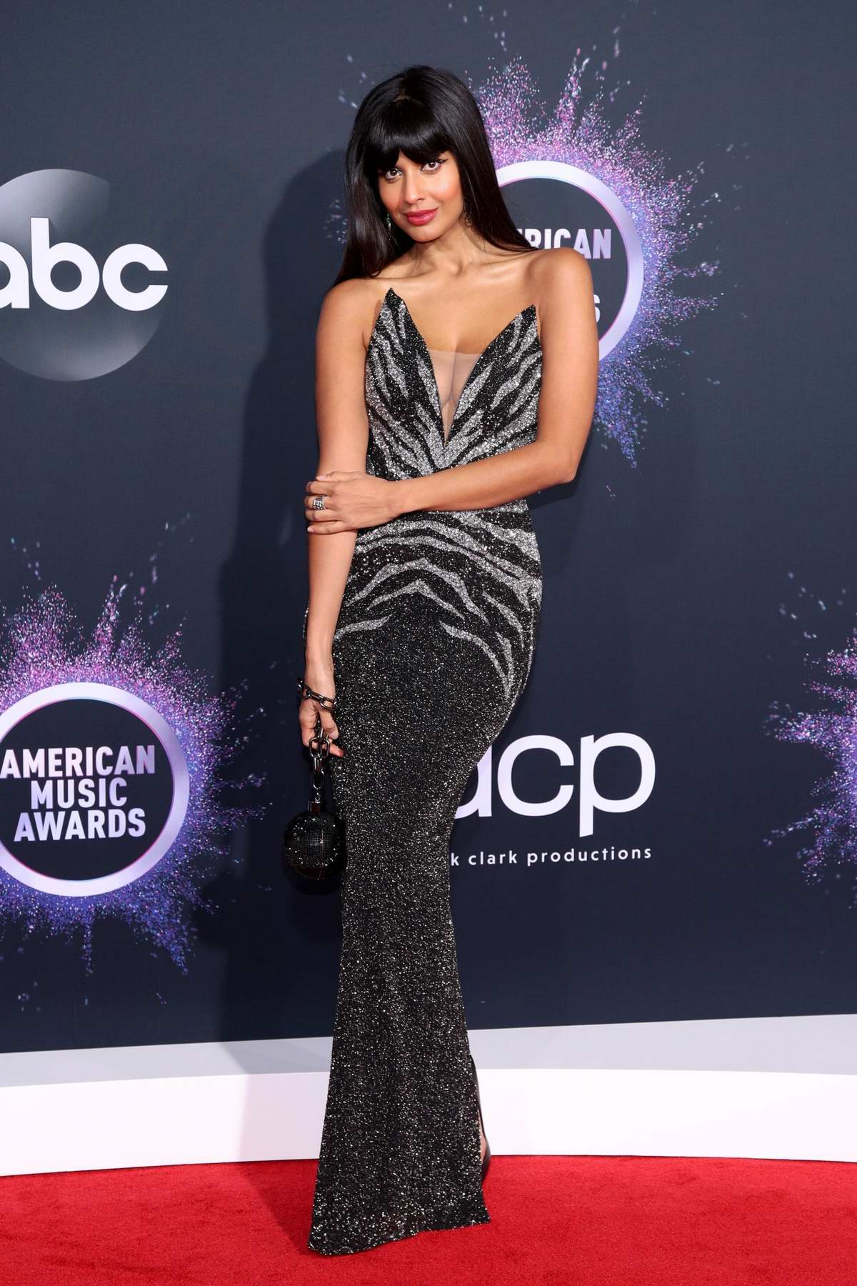 Jameela Jamil attends the 2019 American Music Awards at Microsoft Theater in Los Angeles