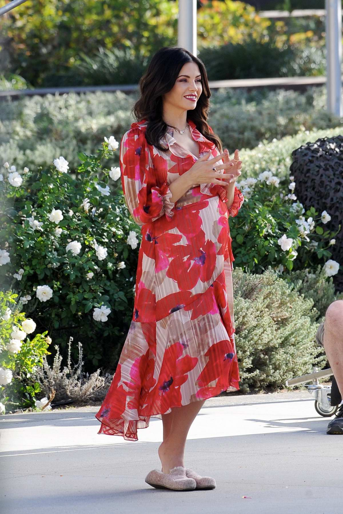 Jenna Dewan looks lovely in a red floral print dress while on the set of 'Flirty Dancing' in Los Angeles