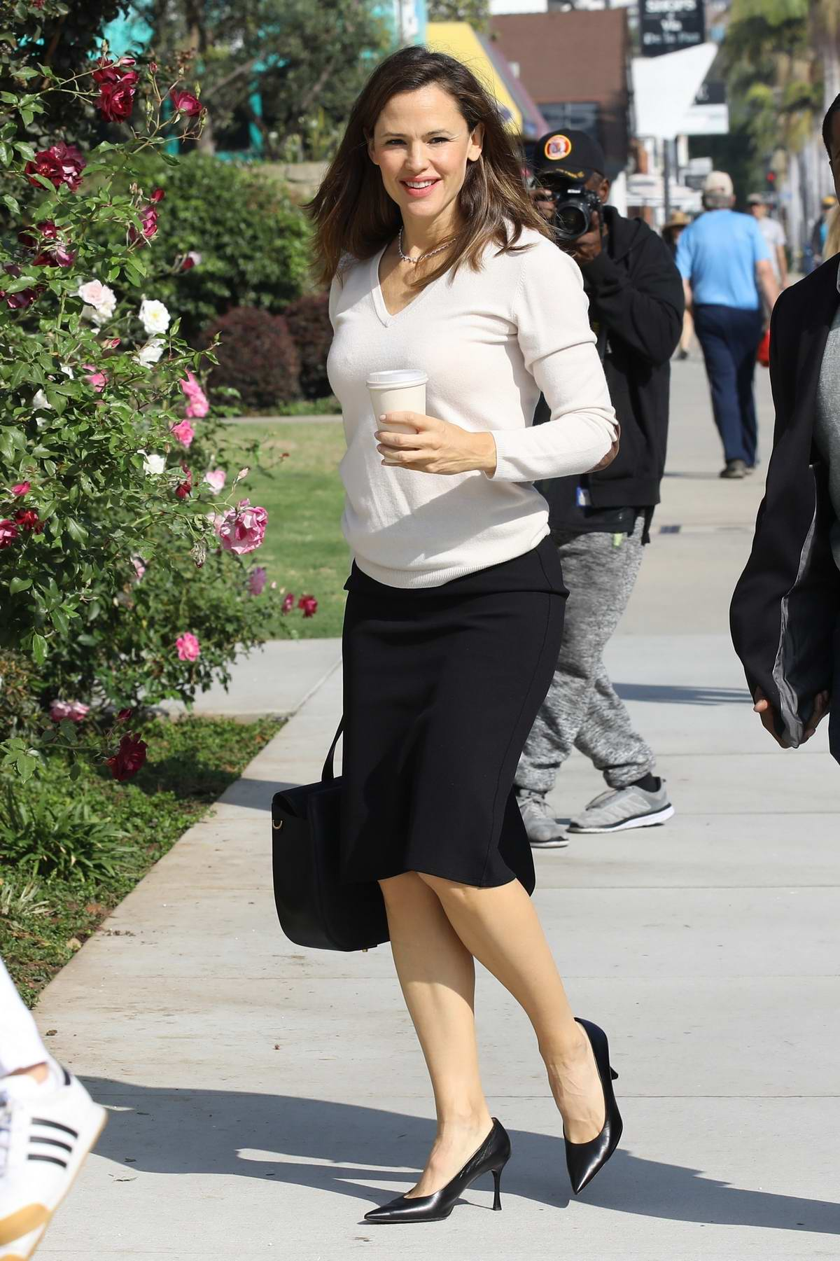Jennifer Garner is all smiles as she arrives for Sunday Church services in Pacific Palisades, Los Angeles