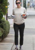 Jennifer Garner keeps it casual while making a morning coffee run in Santa Monica, California