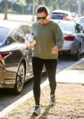 Jennifer Garner sports an olive green sweatshirt and black leggings while out running errands in Los Angeles