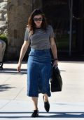 Jennifer Garner wears a striped tee and denim skirt as she arrives for Sunday Church services in Pacific Palisades, California