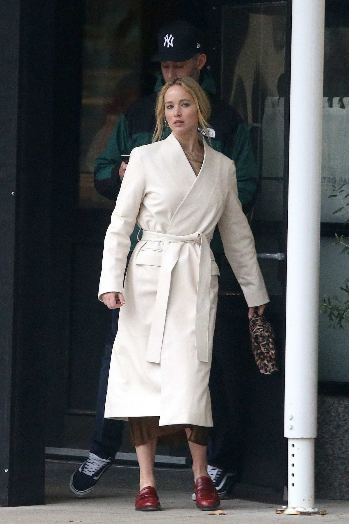 Jennifer Lawrence and Cooke Maroney check out an exhibit at MOMA then head to a restaurant in SoHo, New York City