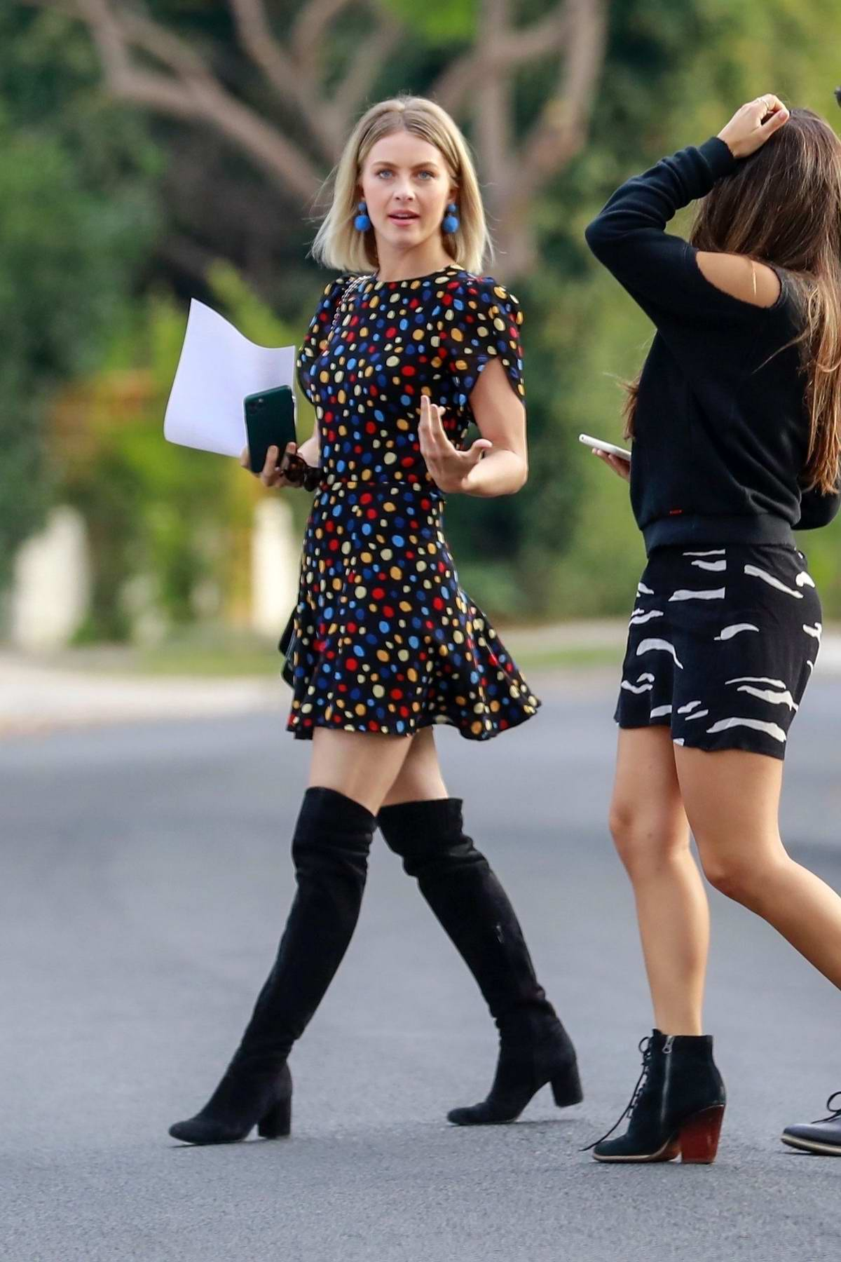 Julianne Hough looks pretty in a multi-colored polka dot dress and knee high boots while stopping by her office in Los Angeles