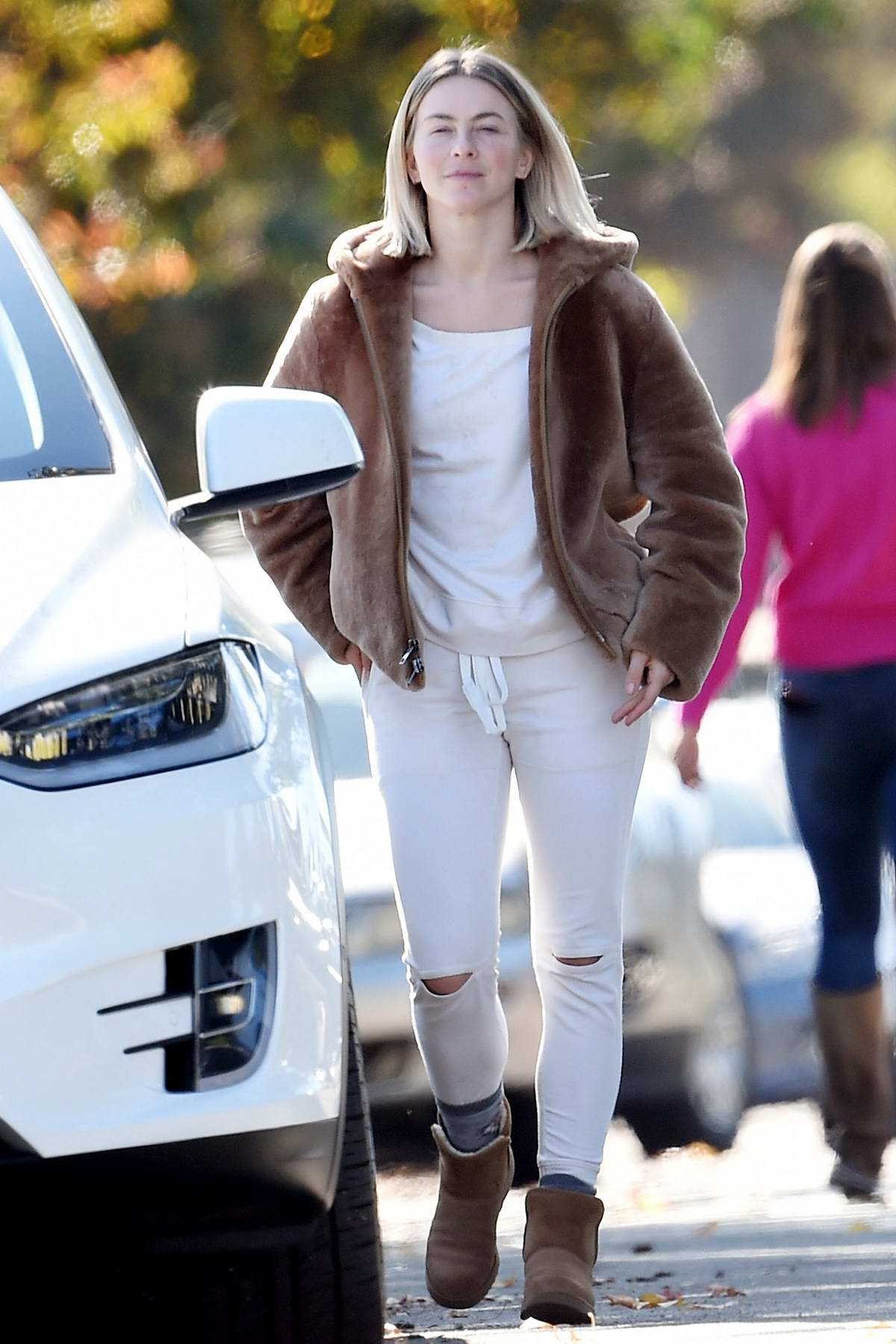 Julianne Hough sports casual makeup free look with a brown fur coat while running a few errands in Burbank, California