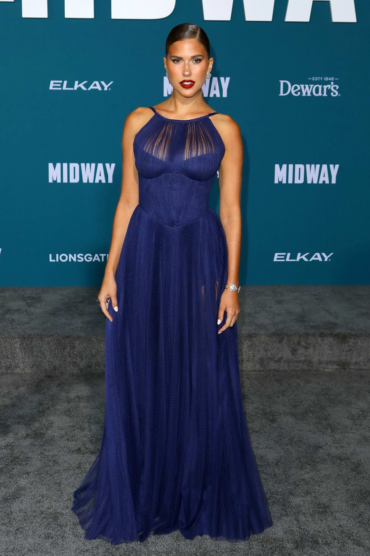 Kara Del Toro attends the Premiere of 'Midway' at Regency Village Theatre in Westwood, California