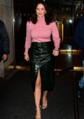 Katharine McPhee looks lovely in a pink sweater and green skirt as she leaves 'The Today Show' in New York City