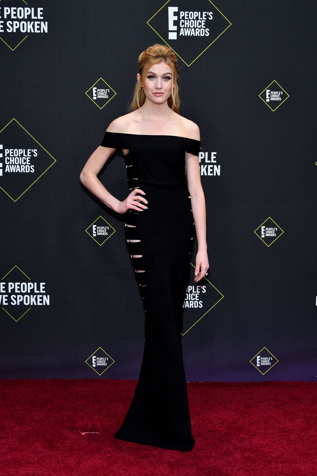 Katherine McNamara attends the 2019 E! People's Choice Awards held at the Barker Hangar in Santa Monica, California