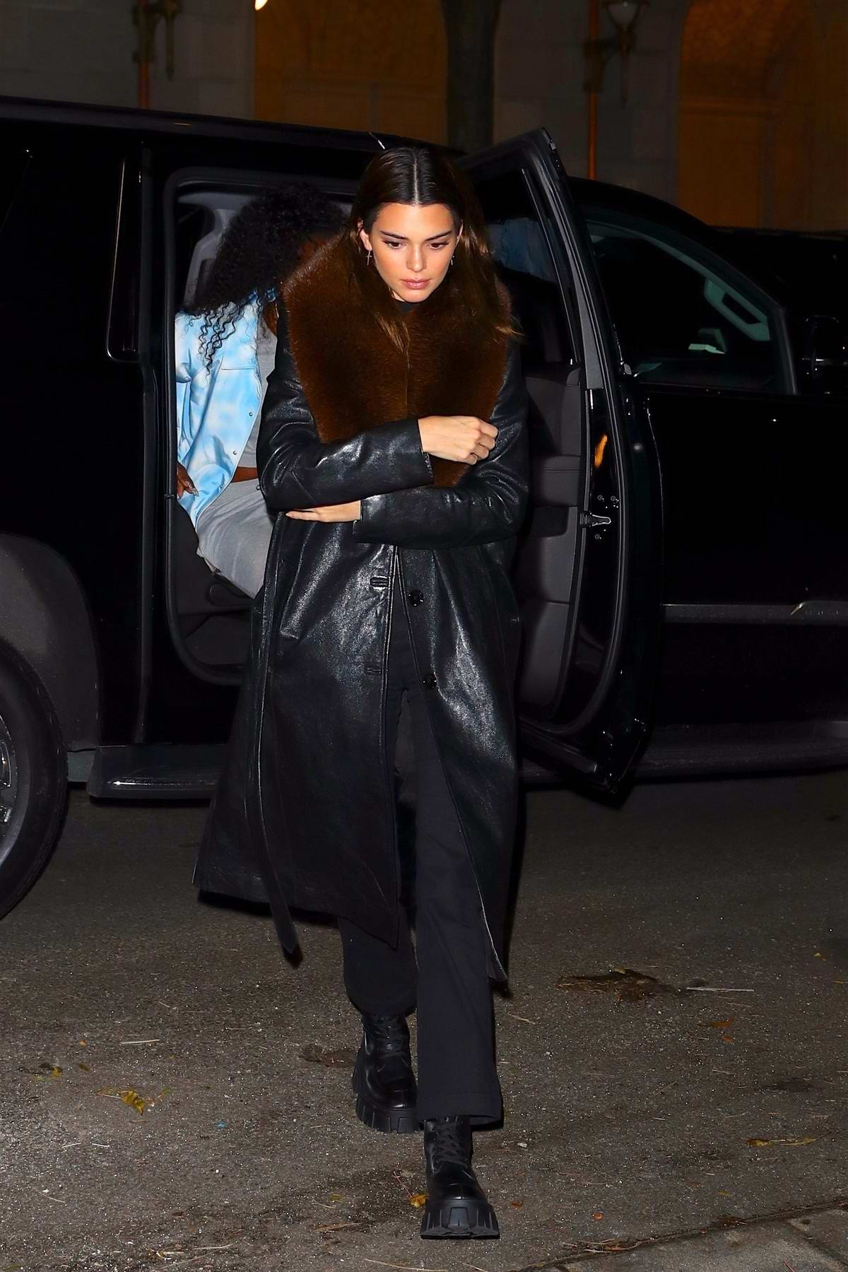 Kendall Jenner steps out in black leather jacket as she arrive at a private residence in Upper East Side, New York City