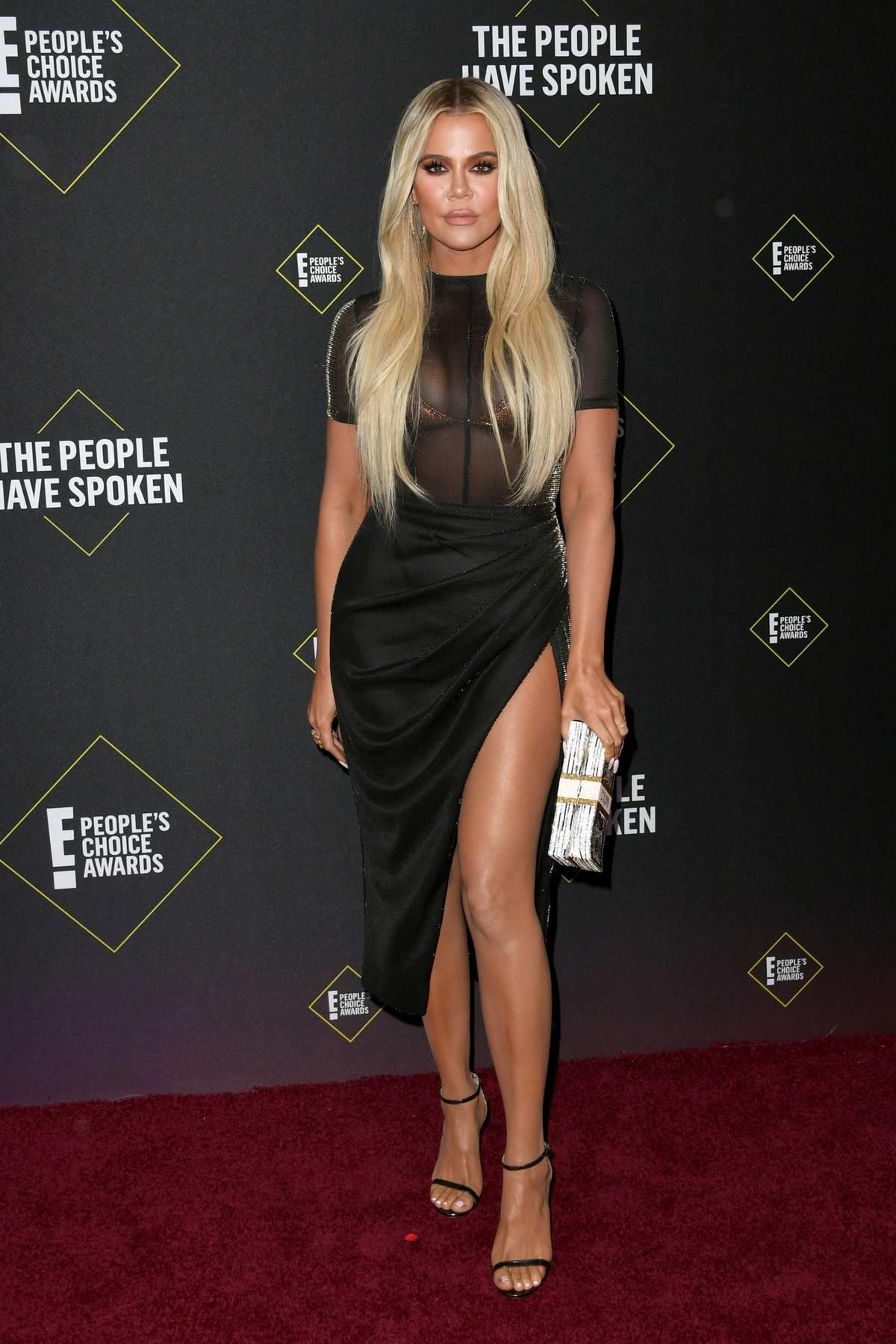 Khloe Kardashian attends the 2019 E! People's Choice Awards held at the Barker Hangar in Santa Monica, California