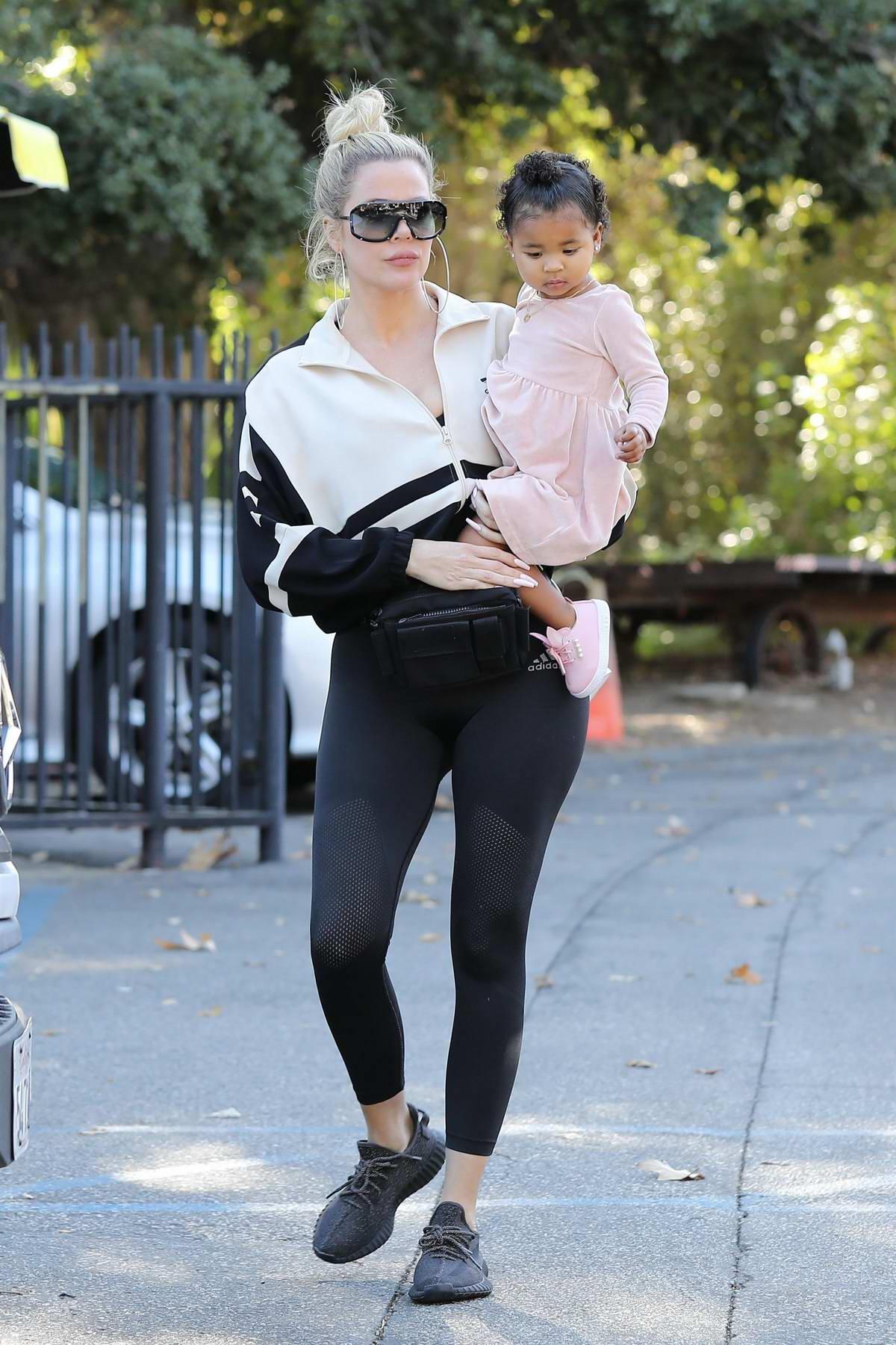 Khloe Kardashian takes her daughter to Farmers Market in Calabasas, California