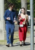 Kiernan Shipka and Timothée Chalamet step out to grab coffee and food together in Los Angeles