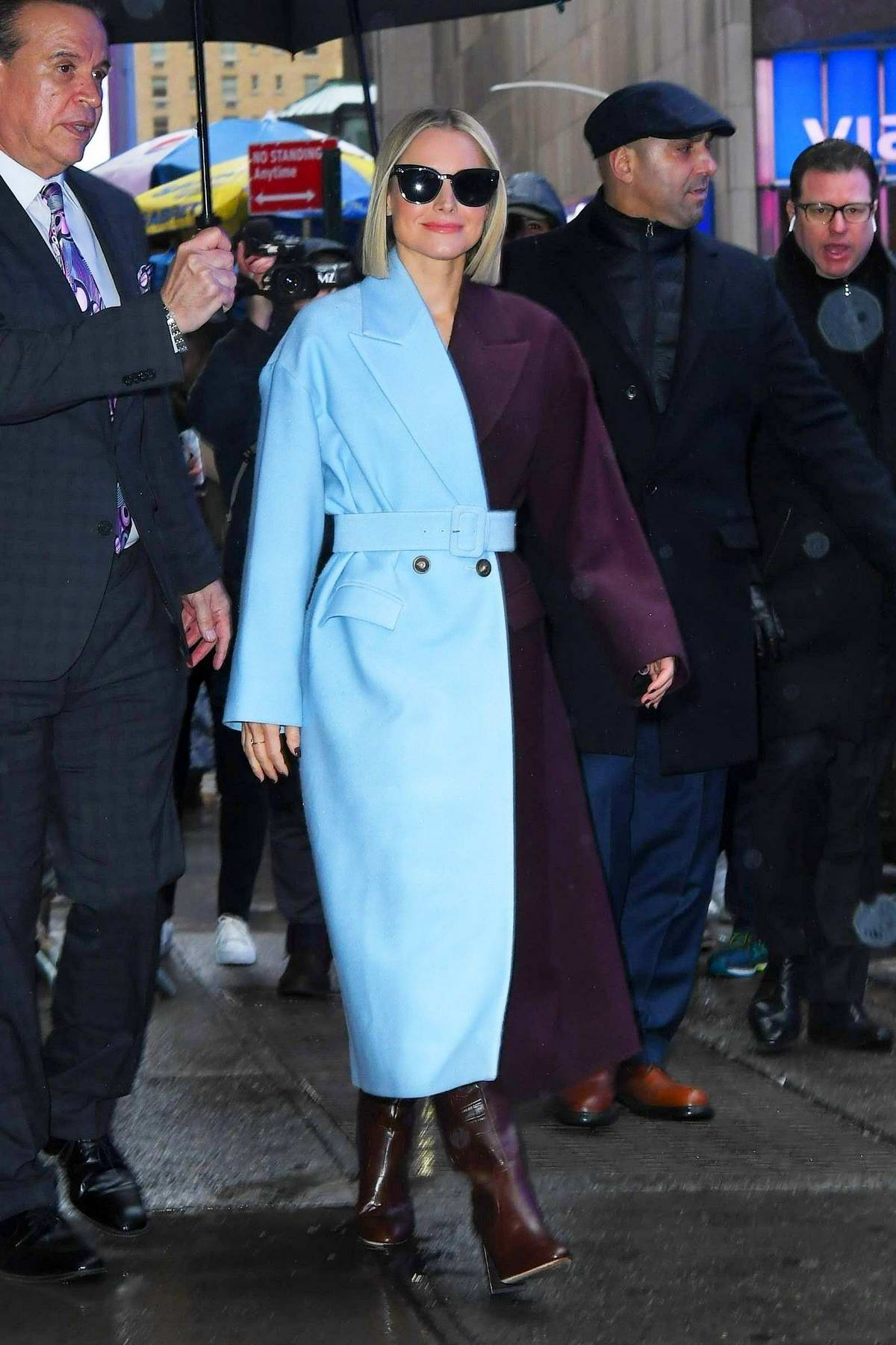 Kristen Bell wears color-block blue and purple trench coat while visiting 'Good Morning America' to promote 'Frozen 2' in New York City