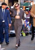 Kristen Stewart looks stylish in a brown suit as she arrives at 'Good Morning America' in New York City