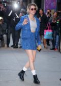 Kristen Stewart looks trendy in a blue outfit while visiting 'Good Morning America' in New York City
