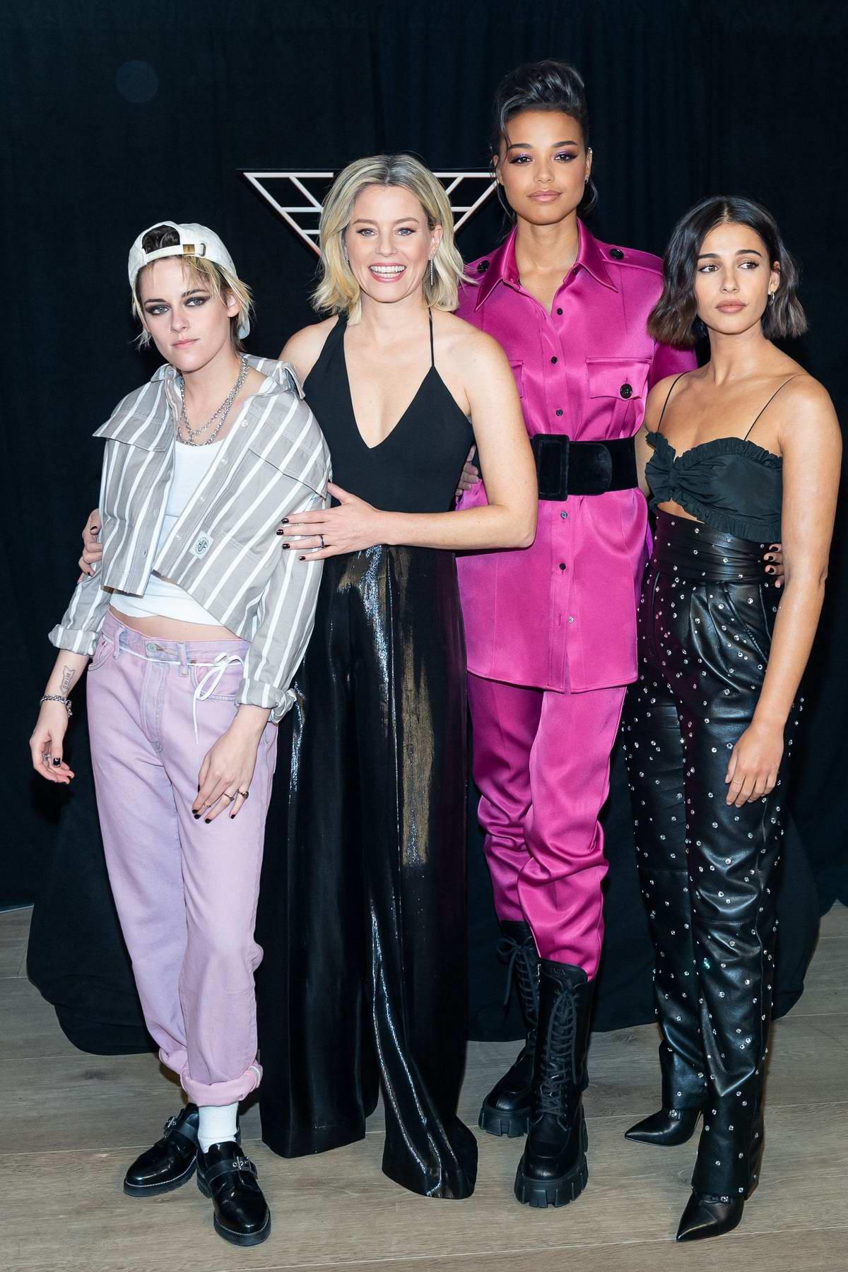 Kristen Stewart, Naomi Scott, Ella Balinska, and Elizabeth Bank attend a 'Charlie's Angels' Photocall in New York City