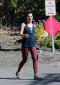 Lea Michele sports an black tank top and burgundy leggings as she goes for a hike with her husband Zandy Reich in Los Angeles